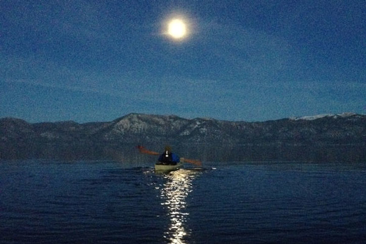 Paddling an F1 on Lake Tahoe