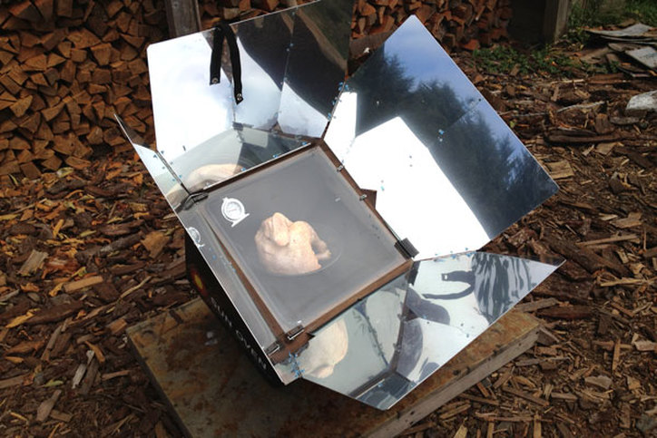 solar cooker on our off grid organic farm