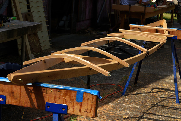 Laying out deck beams on an F1 kayak