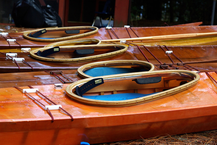 skin kayaks ready to paddle