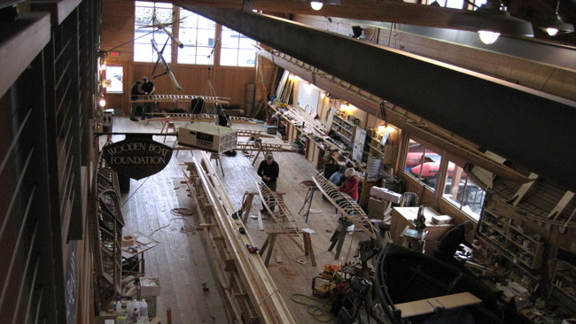 Kayak building at the northwest maritime center