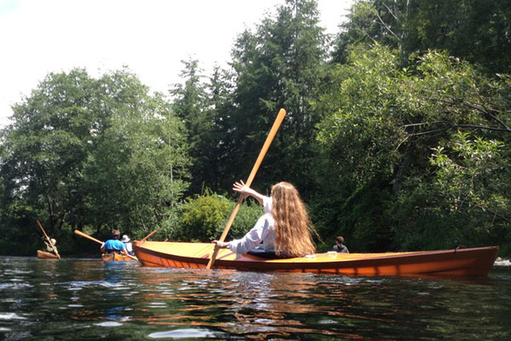 Paddling a skin on frame kayak