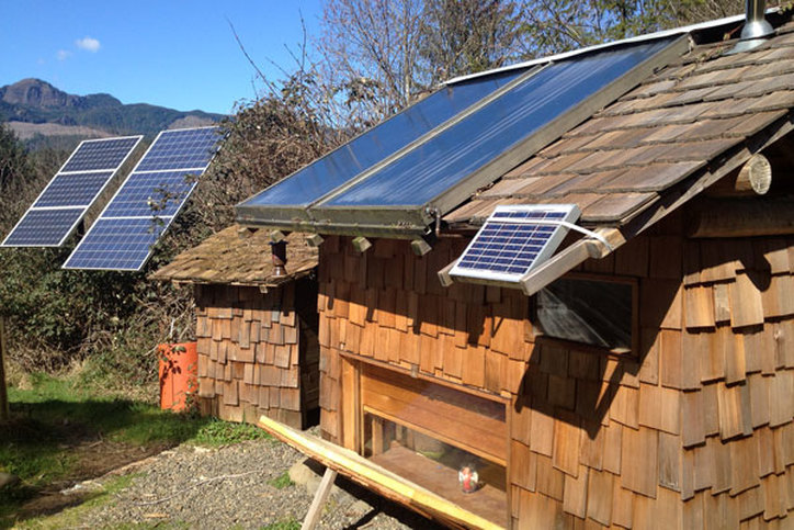 Solar bathhouse on the off grid organic farm